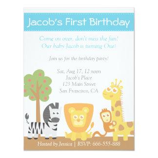 "Safari Animals theme first birthday party 4.25"" X 5.5"" Invitation Card"