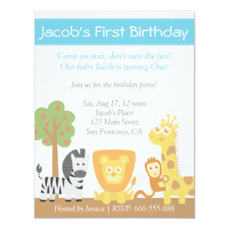 Safari Animals theme first birthday party Card