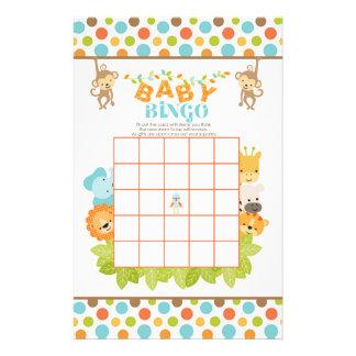 Safari Baby Bingo Game with Animals Stationery