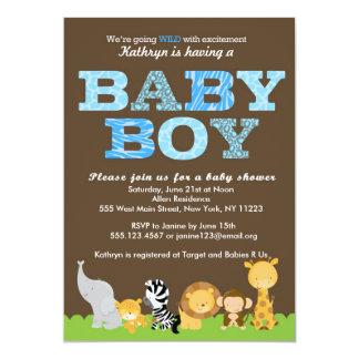 "Safari Baby Boy Shower Invitation 5"" X 7"" Invitation Card"