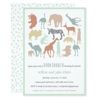 "SAFARI BABY PASTEL 5"" X 7"" INVITATION CARD"