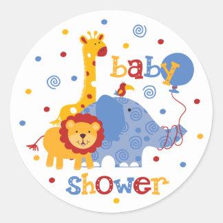 Safari Baby Shower Classic Round Sticker