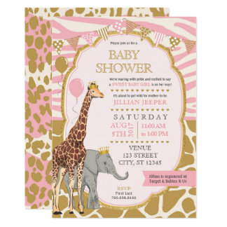 Safari Baby Shower Invitation - Pink Girl