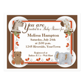 Safari Baby Shower Postcard Invitation