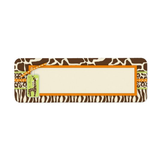 Safari Boy Orange Skinny Gift Label Return Address Label
