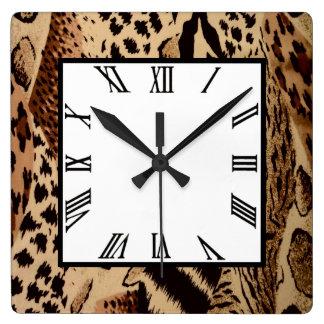 Safari Brown Square Wall Clock