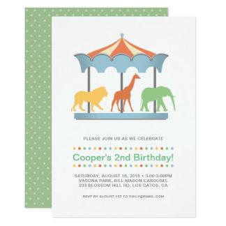 Safari Carousel Birthday Invitation