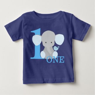 Safari Elephant Blue One Year First Birthday Boy Baby T-Shirt