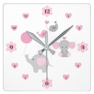 Safari Elephant Pink Grey Gray Baby Girl Nursery Square Wall Clock