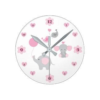 Safari Elephant Pink Grey Grey Baby Girl Nursery Wall Clocks