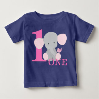 Safari Elephant Pink One Year First Birthday Girl Baby T-Shirt