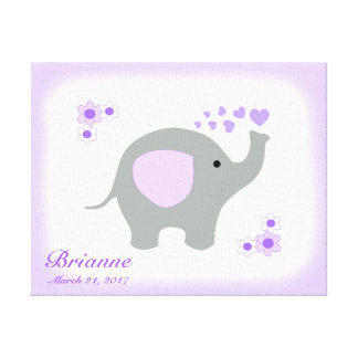 Safari Elephant Purple Gray Girl Nursery Wall Art