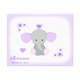 Safari Elephant Purple Grey Gray Baby Girl Nursery Canvas Print