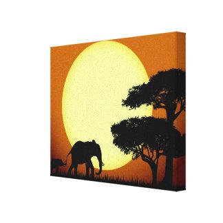 Safari elephants at sunset canvas print