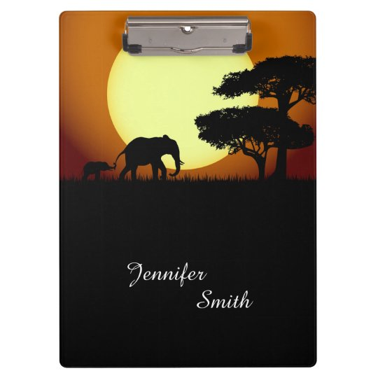 Safari elephants at sunset clipboard