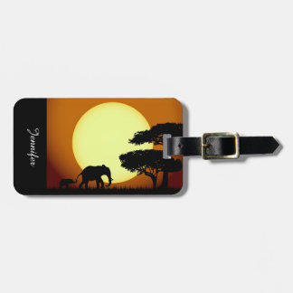 Safari elephants at sunset luggage tag