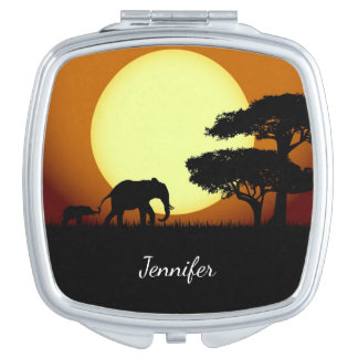 Safari elephants at sunset name makeup mirror