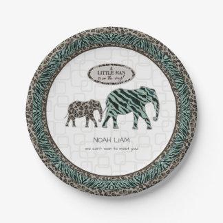Safari Elephants Little Man Baby Boy Zebra Shower 7 Inch Paper Plate