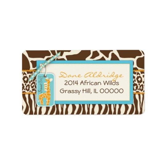 Safari Giraffe Address Label