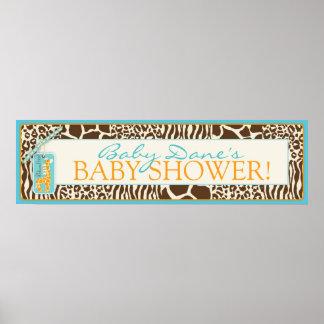 Safari Giraffe Baby Shower Banner Poster