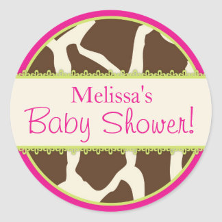 Safari Giraffe Print Baby Shower Sticker