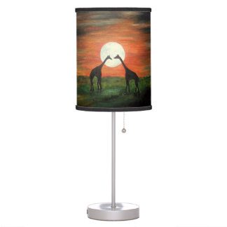 Safari Giraffe Silhouette at night with moon ART Table Lamp