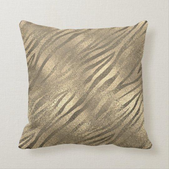 Safari Gold Zebra Animal Skin Sepia Glass Metallic Throw Pillow