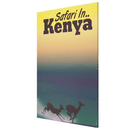 Safari in Kenya vacation poster Canvas Print