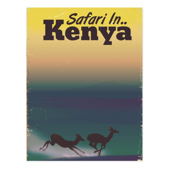 Safari in Kenya vacation poster Postcard