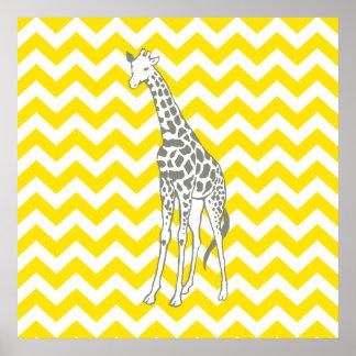 Safari jaune d'or Chevron avec la girafe d'art de
