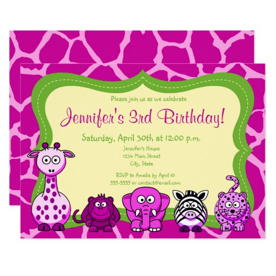 Safari jungle animal girl happy birthday card