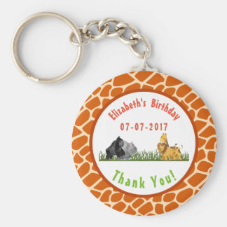 Safari Jungle Animal Illustration Birthday Thanks Basic Round Button Keychain