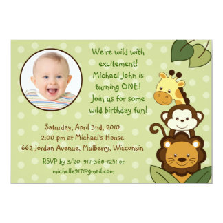 Safari Jungle Animal Photo Birthday Invitations