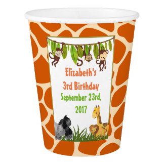 Safari Jungle Animal Theme  Birthday Paper Cup