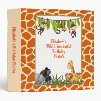 Safari Jungle Animal Theme Birthday Photo Vinyl Binder