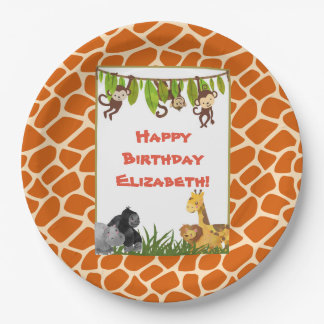 Safari Jungle Animal Theme Happy Birthday Paper Plate