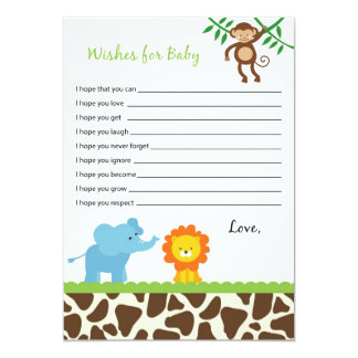 Safari Jungle Animal Wishes for Baby Advice Cards