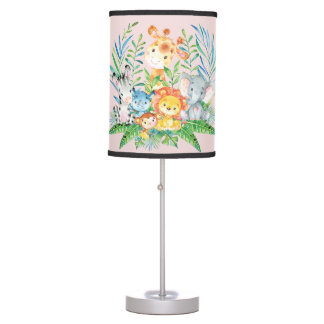 Safari Jungle Animals Baby Girl Nursery Lamp