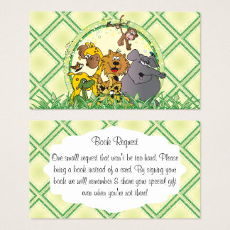 Safari Jungle Animals Baby Shower Book Request Business Card