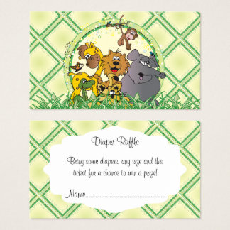 Safari Jungle Animals Baby Shower Diaper Raffle Business Card