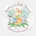 Safari Jungle Animals Baby Shower Favour Sticker
