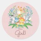 Safari Jungle Animals It' a Girl Favour Sticker