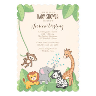 Safari Jungle Animals Modern Baby Shower Card