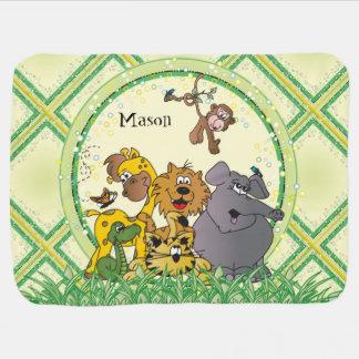 Safari Jungle Baby Animals Nursery Theme Stroller Blanket