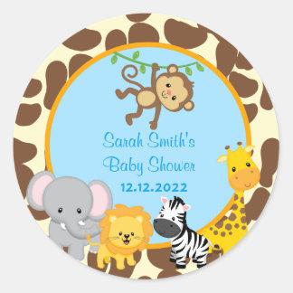 Safari Jungle Boy Baby Shower Favor Tags Stickers