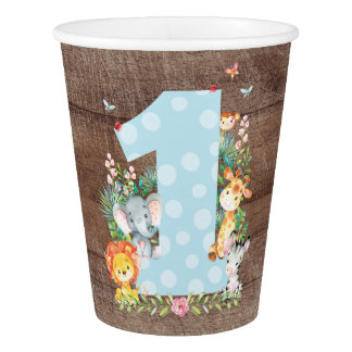 Safari Jungle Boys First Birthday Paper Cup