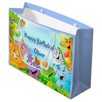 Safari jungle happy birthday with smiling animals large gift bag