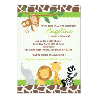 Safari Jungle Monkey Baby Shower Invitations