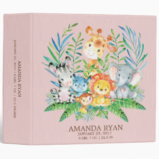 Safari Jungle Shower Girls Baby Photo Album 3 Ring Binders