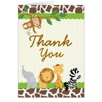 Safari Jungle Thank you card Birthday Baby shower